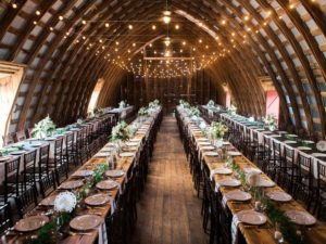 Gorgoeus family style dining wedding reception