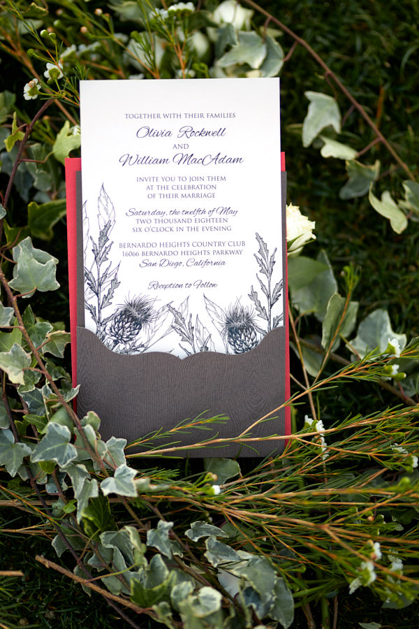 scottish wedding invitation, thistle on invitation