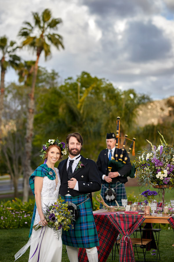 scottish wedding, bag pipes, scottish tartan
