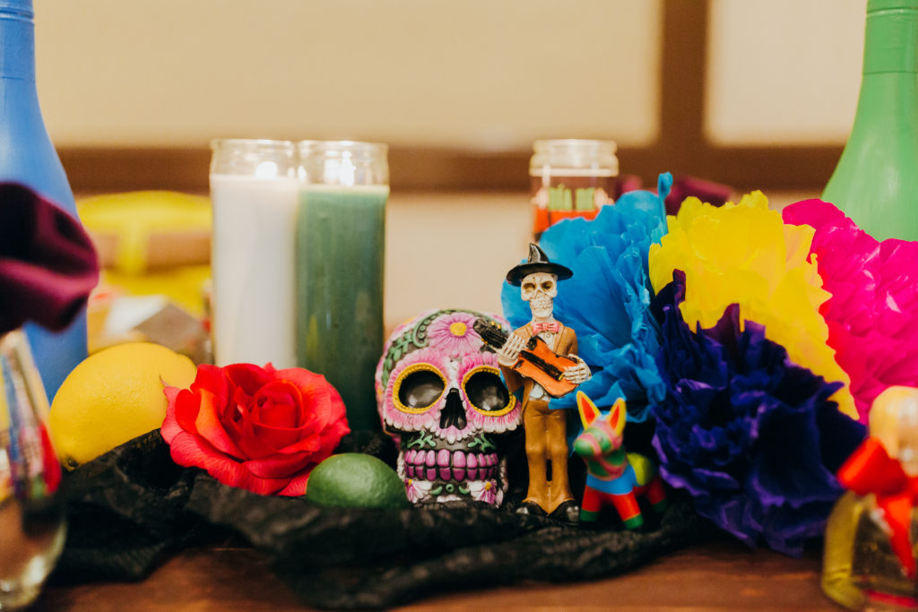 candles and sugar skulls, day of the dead wedding table
