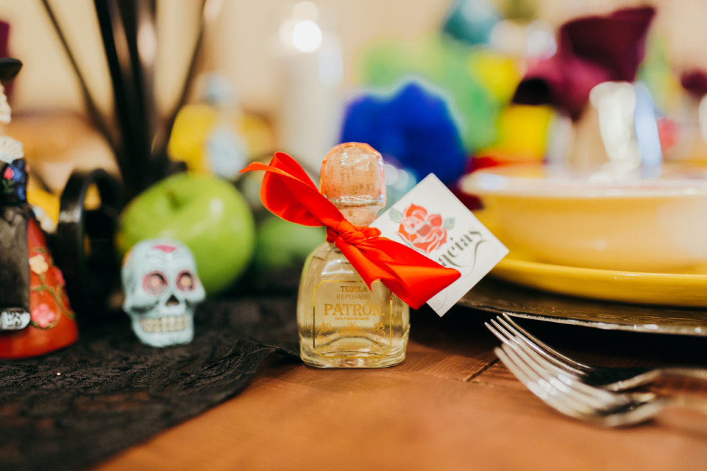 mini patron wedding favor, dia de los muertos wedding favor, tequila wedding favor
