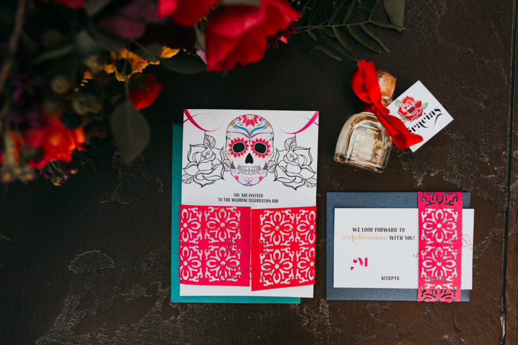 Day Of The Dead Wedding Invitaion Sugar Skull Invitation Dia De Los Muertos