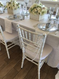 white chiavari chairs, pearl back chairs, pearl swag chair back, whilte and silver wedding