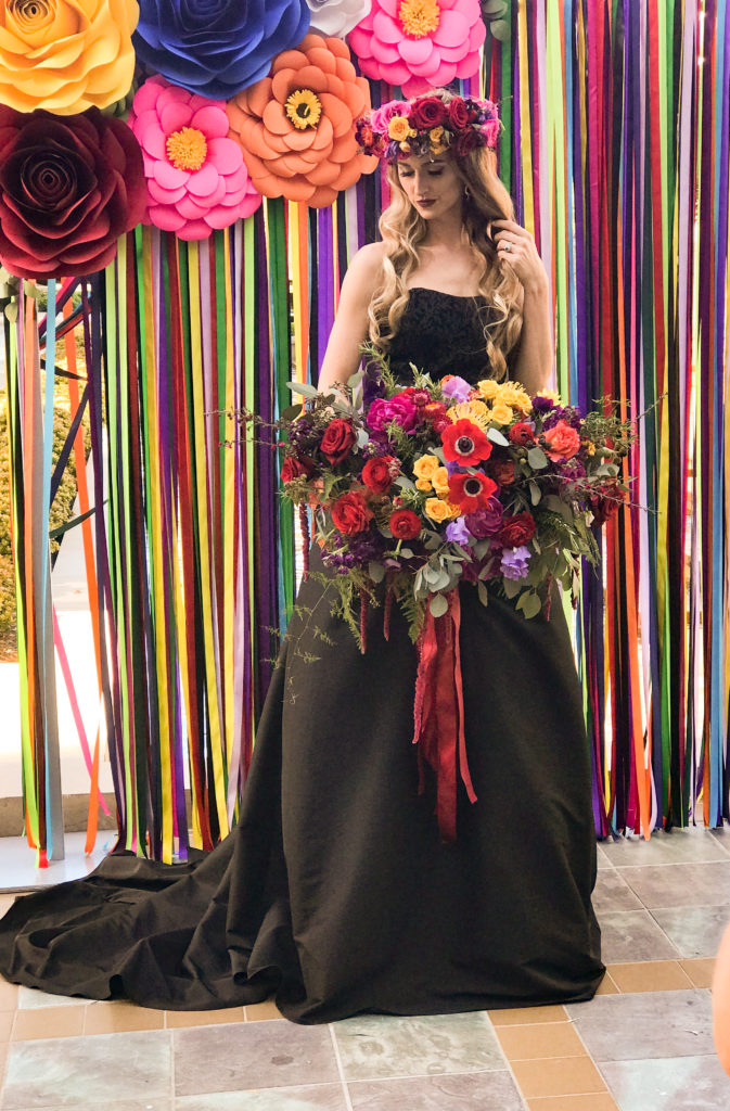 dia de los muertos wedding, ribbin curtain backdrop, oversized bouquet